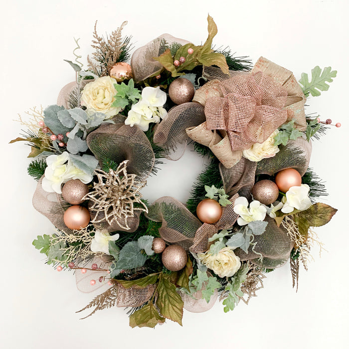 Christmas wreath rose gold pink champagne