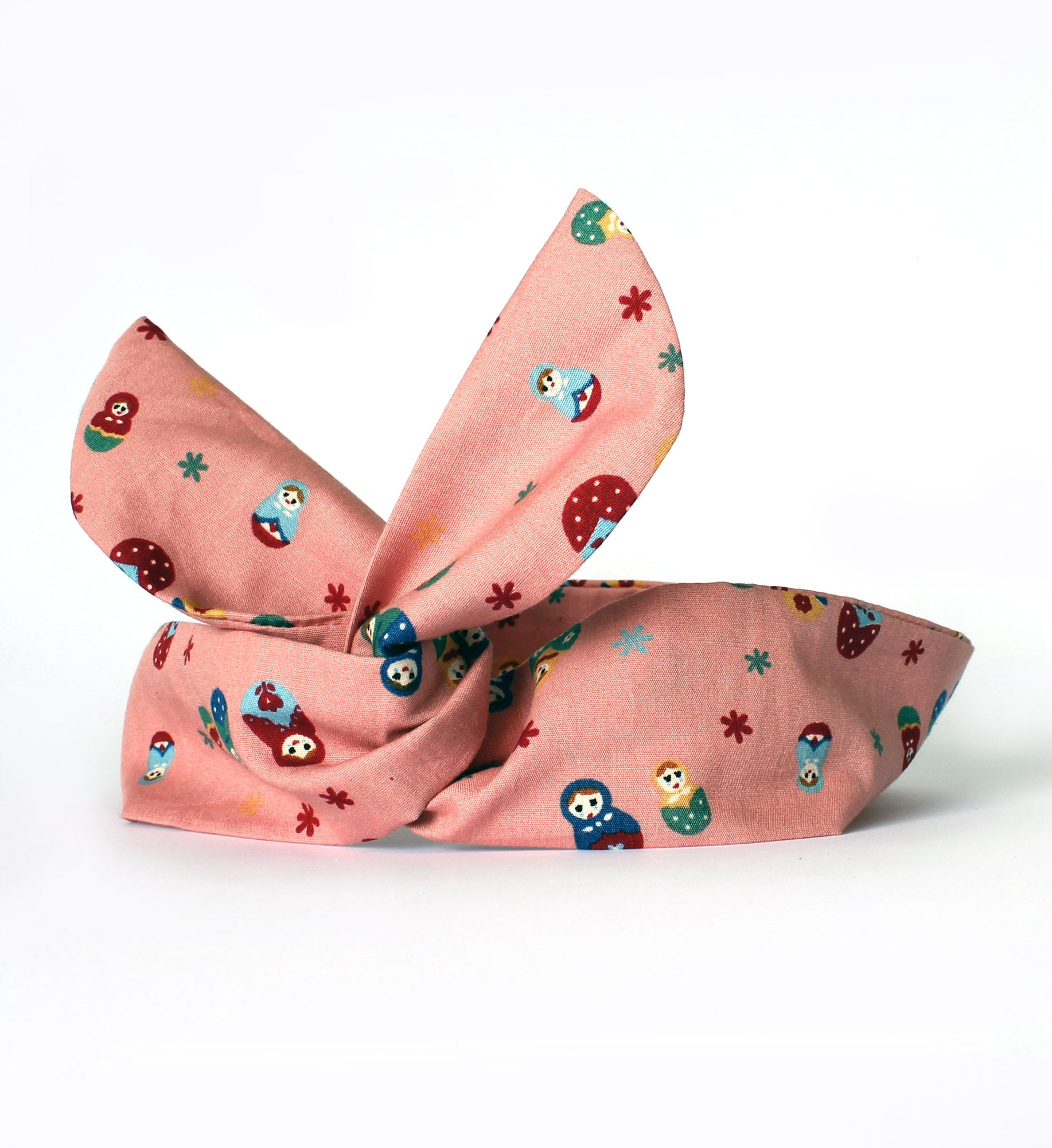 russian doll dolly bow wired headband