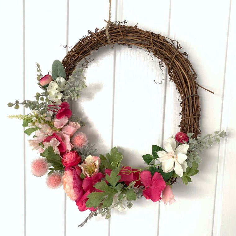 Pink Grapevine Spring Wreath