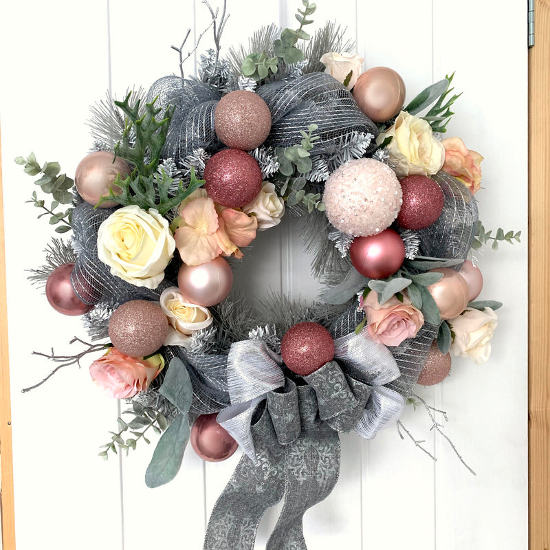 pink grey silver christmas wreath