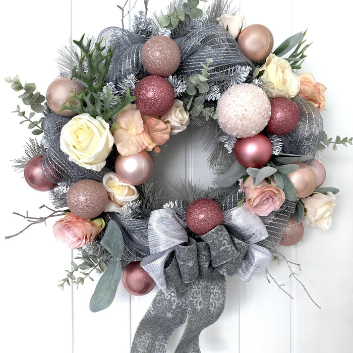pink and grey christmas wreath