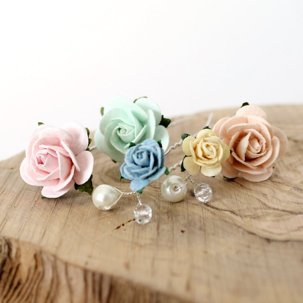 pastel hair pins bridal accessories