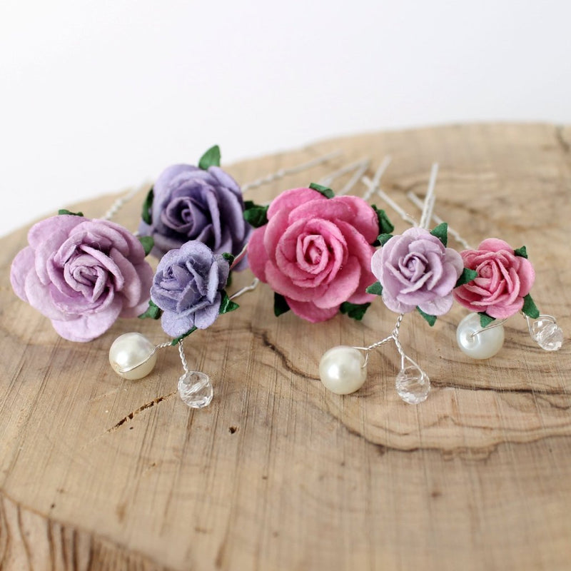 Rose Hair Pin Mix - set of 6