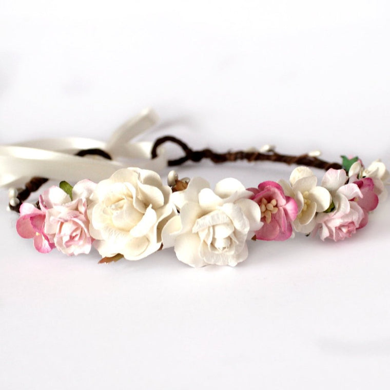 RUBY Mixed Pink Blossom and Rose Floral Crown