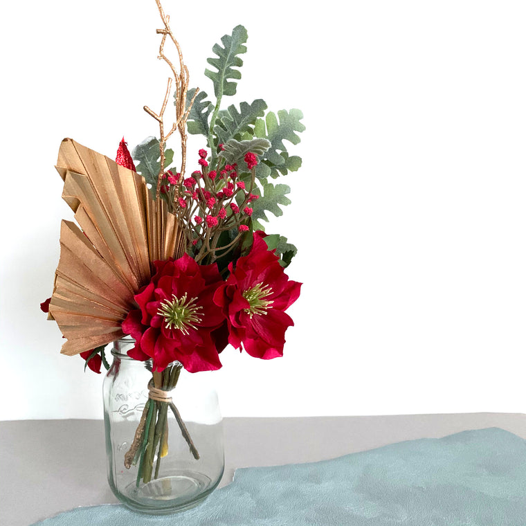 Artificial Flowers in Vase Red Gold 32cm - Christmas Arrangement
