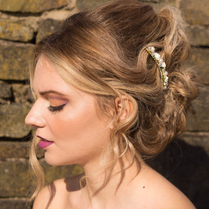 Ivory rose bridal hair comb