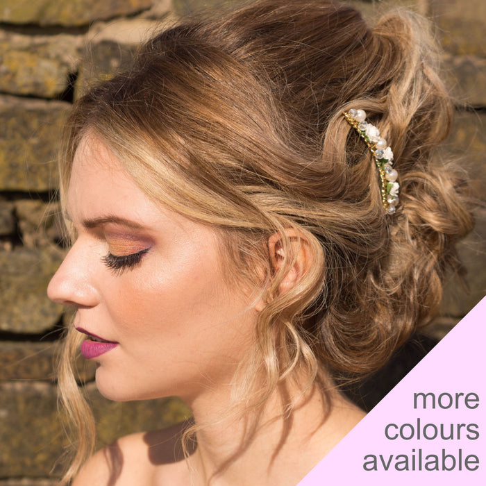 bridal hair comb gold rose and pearl