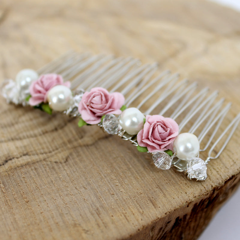 pink rose pearl wedding hair comb