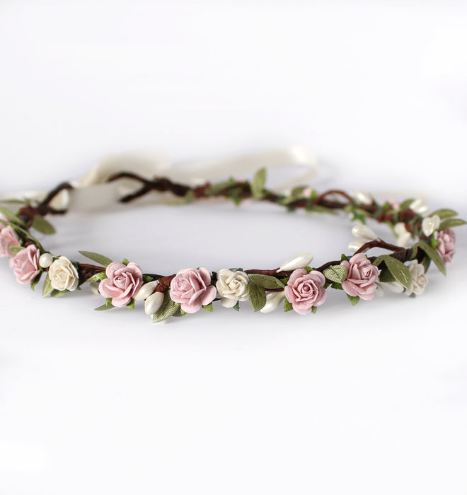 blush pink wedding flower crown