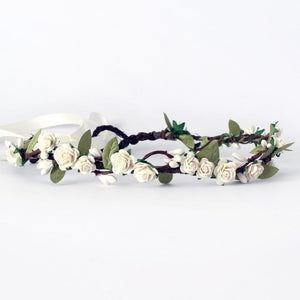 Load image into Gallery viewer, ivory flower crown wedding