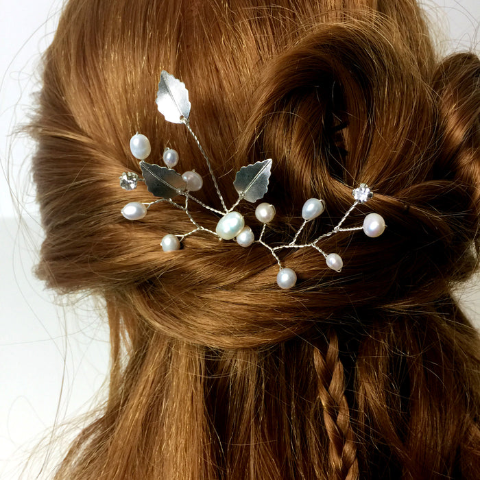silver hair pin wedding