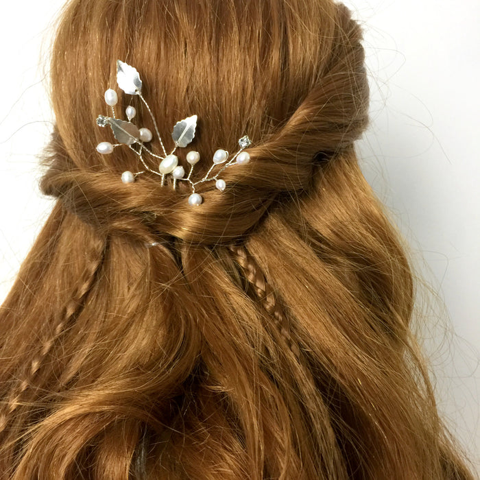 SPRIG Freshwater Pearl and Leaf Wedding Hair Pin