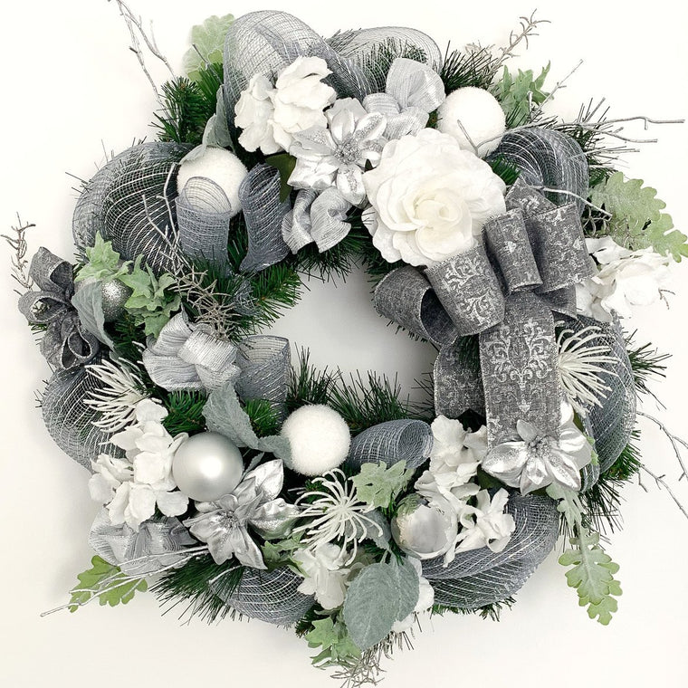 White and Silver Christmas Wreath