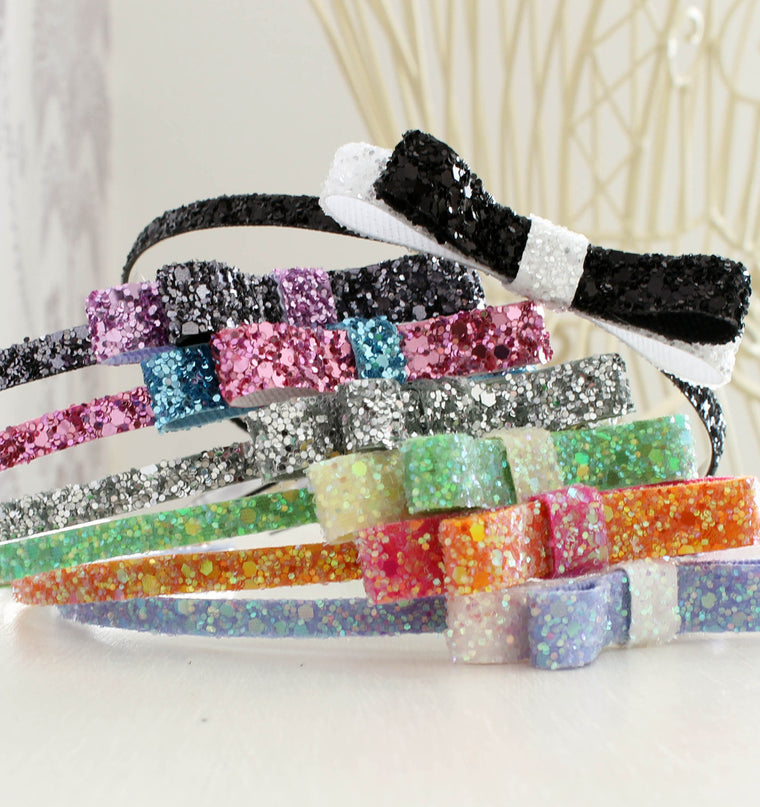 The Skinny Bow - Glitter Bow Headband