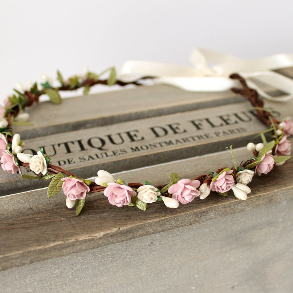 blush wedding flower crown
