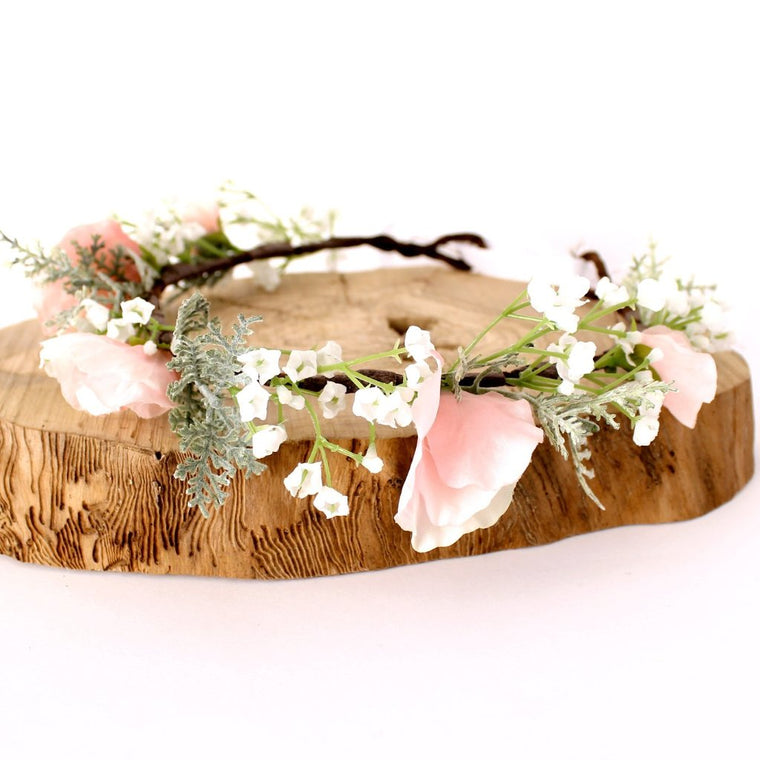 HARPER Gypsophila and pink sweet pea Flower Crown