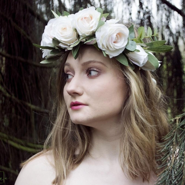 TAYLOR Ivory Rose Oversized Flower Crown