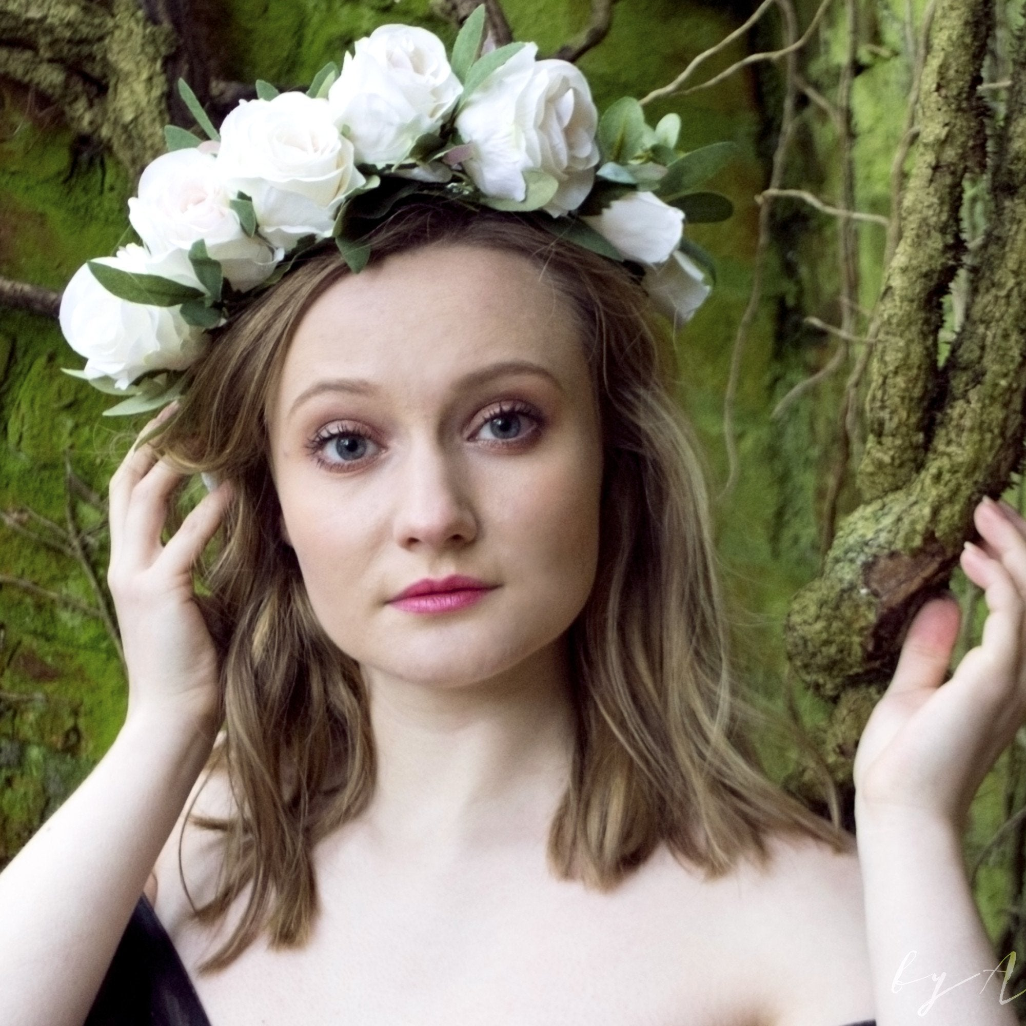 ivory rose flower crown