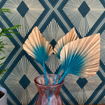 teal and gold palm leaf