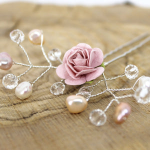 pink flower and pearl wedding hair pin