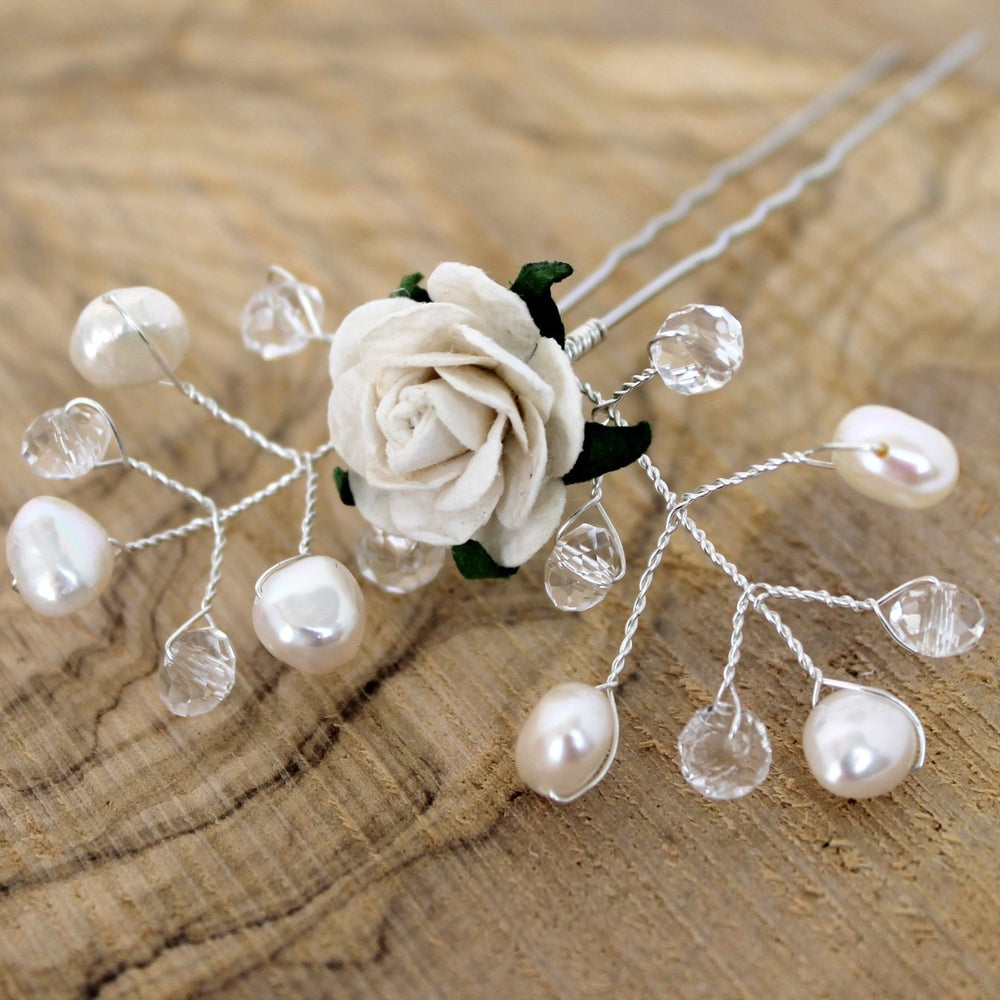 Load image into Gallery viewer, bridal hair pin pearls and rose