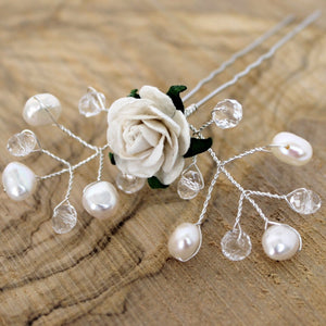bridal hair pin pearls and rose
