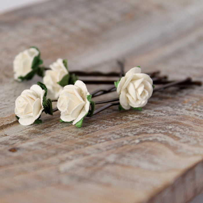 ivory flower hair grips for weddings