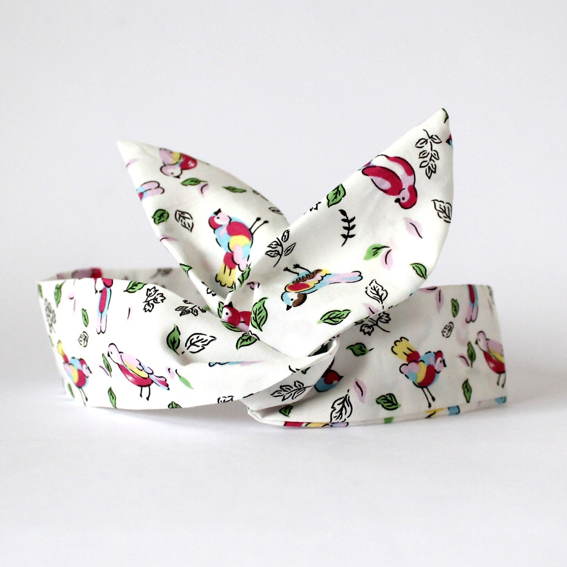 bird print dolly bow headband rockabilly