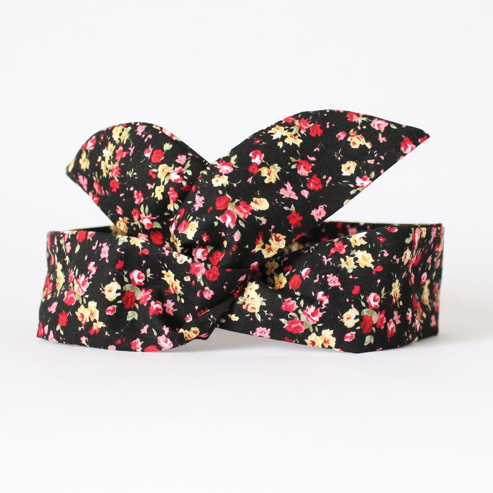 Dolly bow black floral headband
