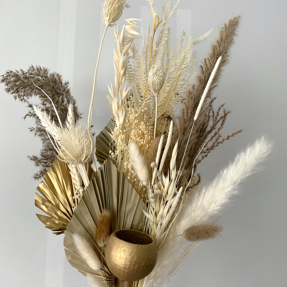 gold and cream dried flower bouquet