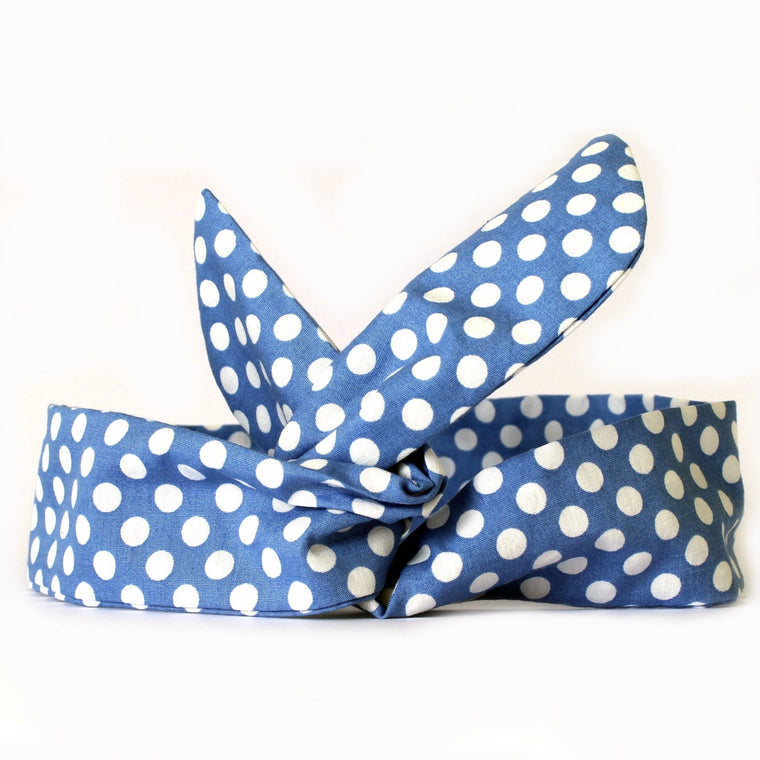 Blue polkadot Dolly Bow