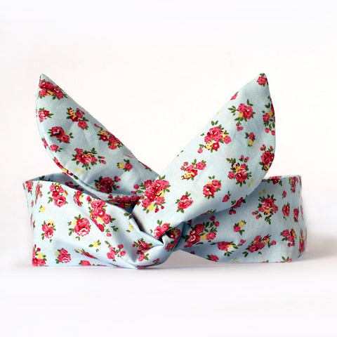 Blue Ditsy Rose Dolly Bow