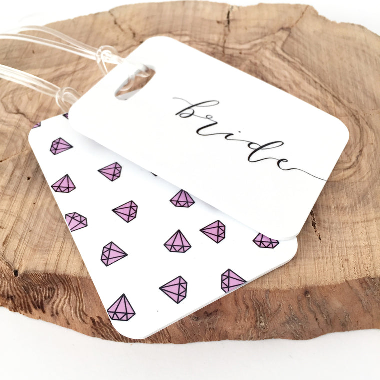Bride Pink Diamond Luggage Tag