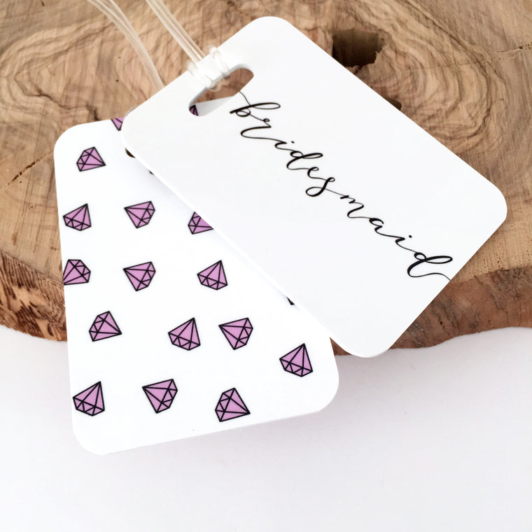 Bridesmaid Pink Diamond Luggage Tag