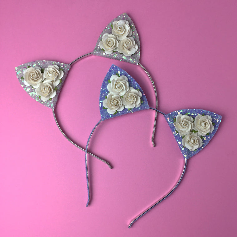 Large Rose and Glitter Cat Ears Headband