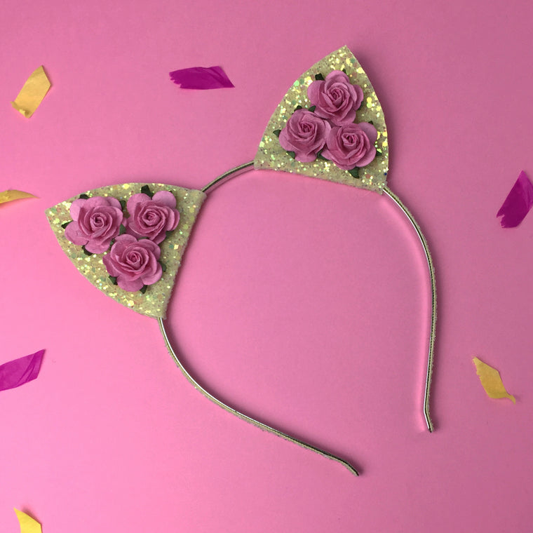 Large Rose and Glitter Cat Ears Headband - many colours