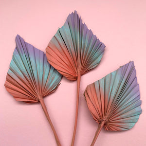 coral aqua lilac palm spears cake topper