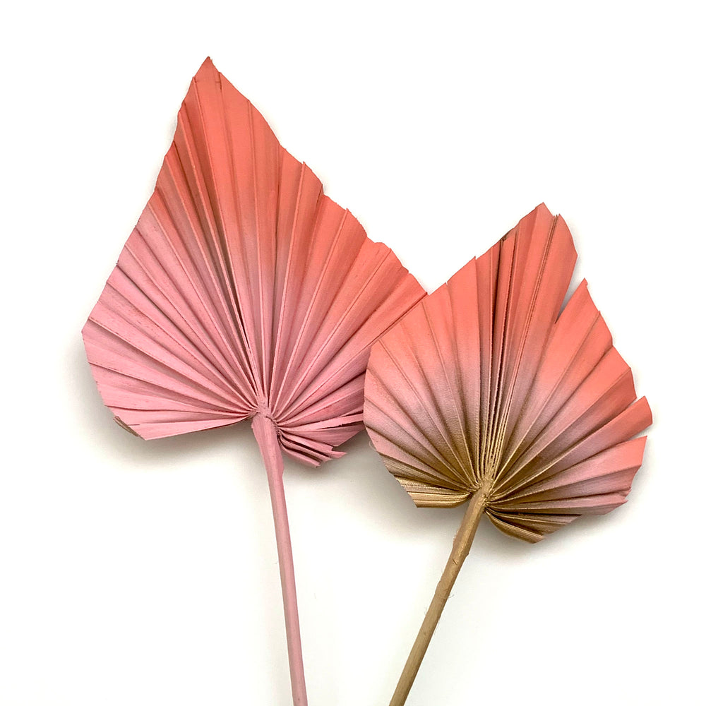 coral and pink palm spear dried flower cake topper