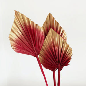dried palm spears red cranberry and gold