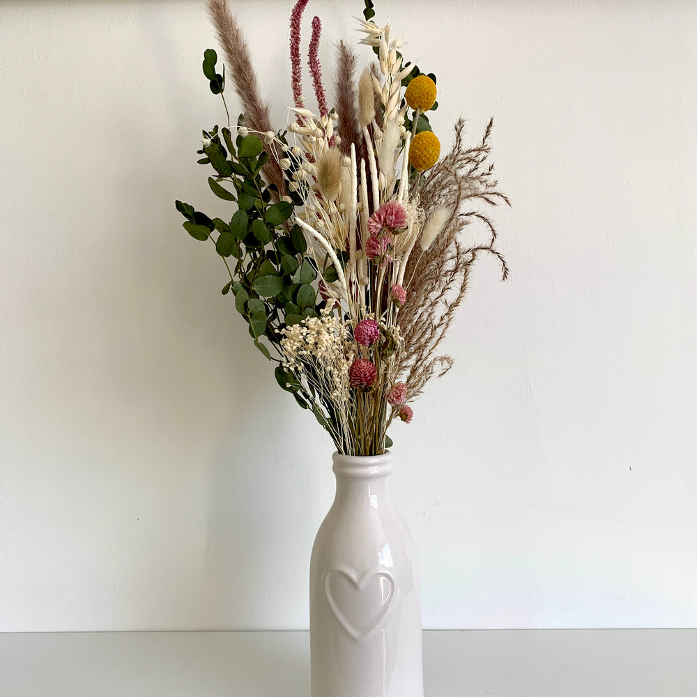 Neutral and Pink Dried Flower Bouquet