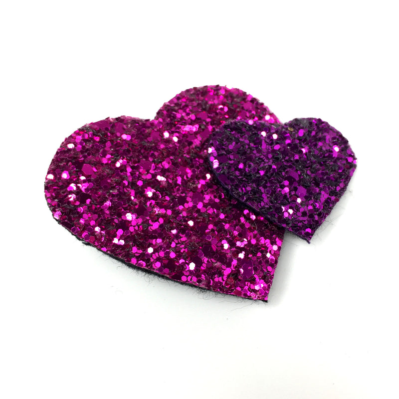 glitter heart hair clip pink purple