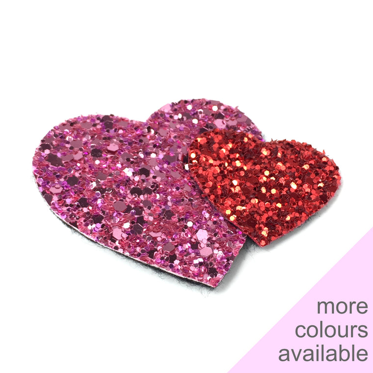 Glitter Heart Duo Hair Clip