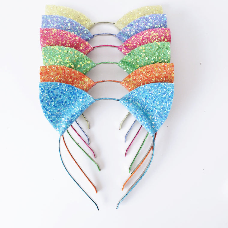 Glitter Cat Ears Headband - many cols available