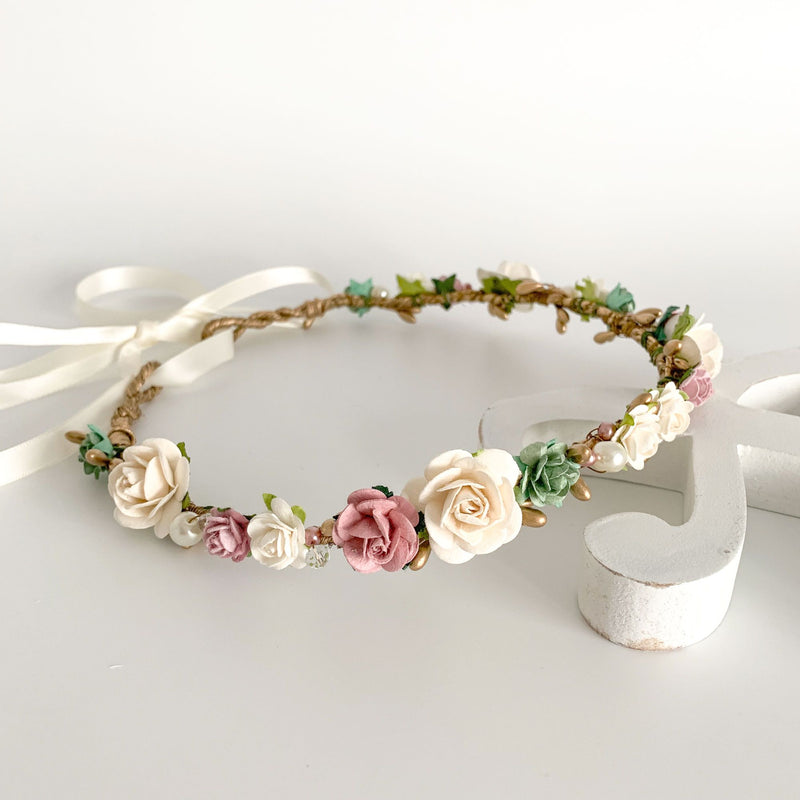 dusky rose and gold flower crown