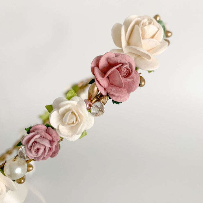 dusky pink and gold flower crown