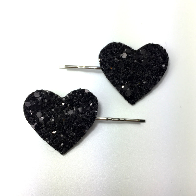 black glitter heart hair clips