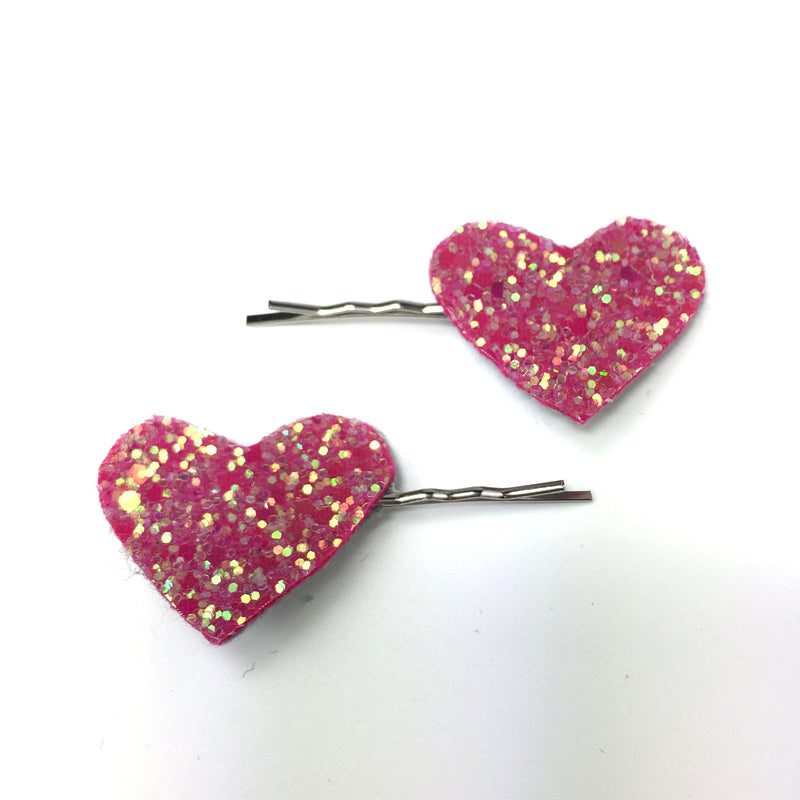 pink glitter heart hair clips