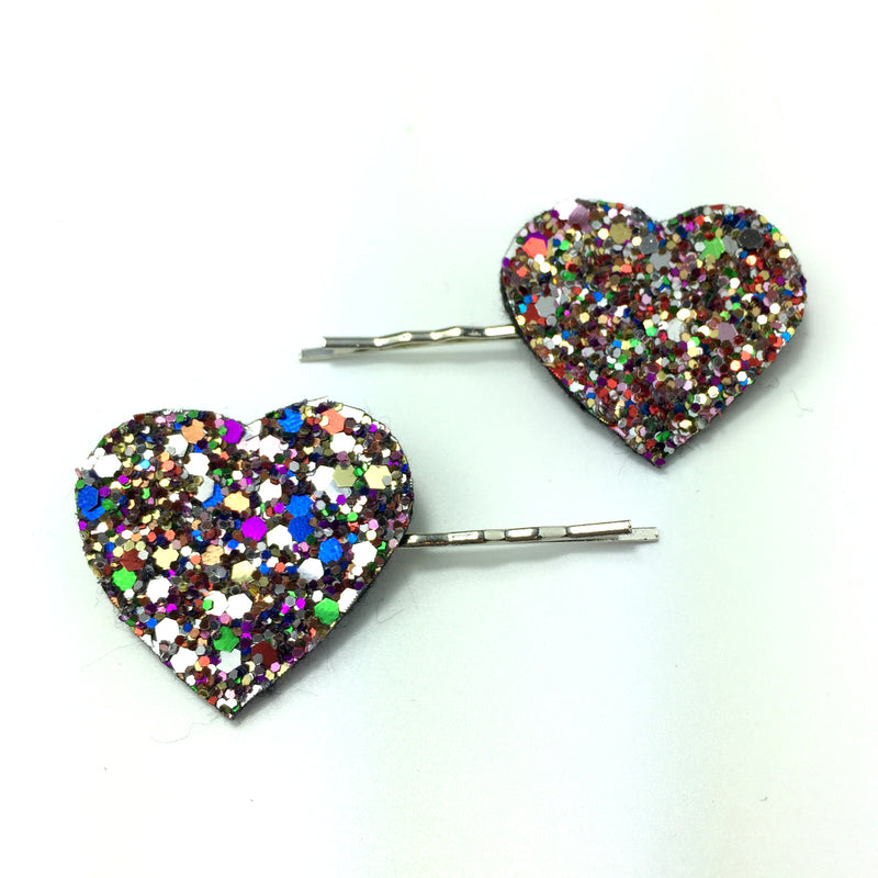 Glitter Heart Hair Grips - Pair