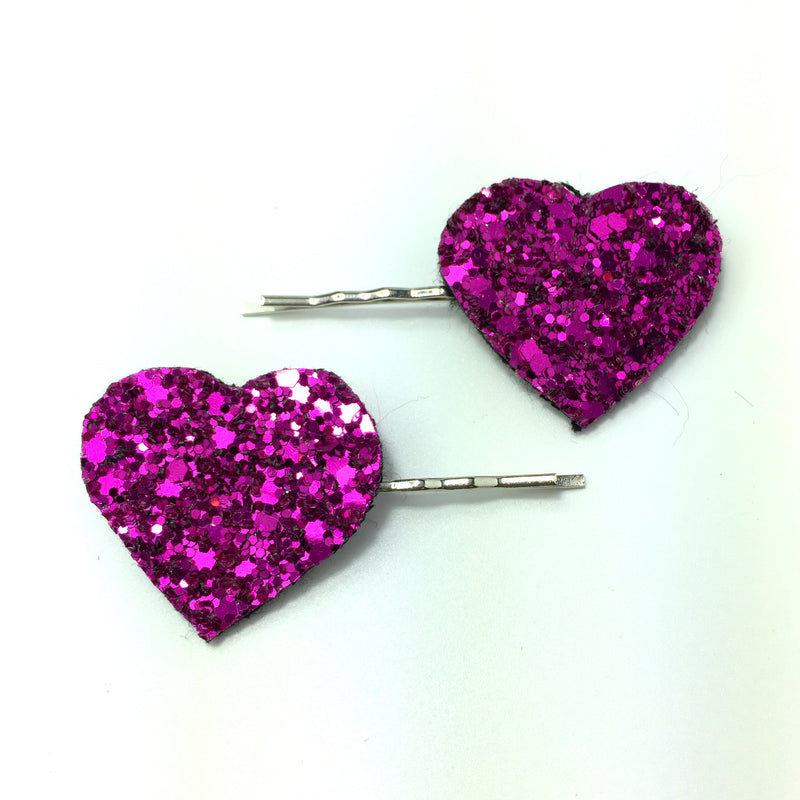 hot pink glitter heart hair clips