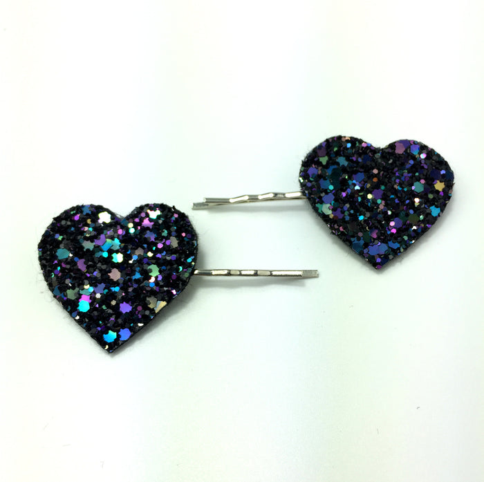 indigo glitter heart hair clips